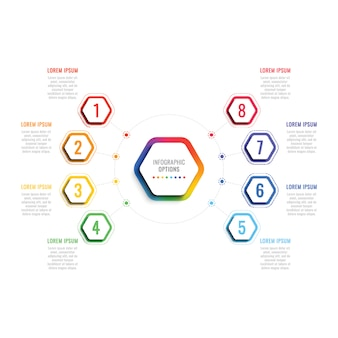 Eight steps 3d infographic template with hexagonal elements. business process template with options for brochure, diagram, workflow, timeline, web