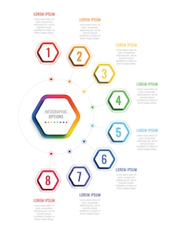 Eight steps infographic template with realistic hexagonal elements on white background