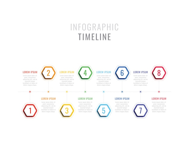 Eight steps infographic timeline with hexagonal elements. business process template with options for brochure, diagram, workflow, timeline, web design