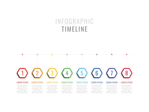 Eight steps infographic timeline with hexagonal elements. business process template with options