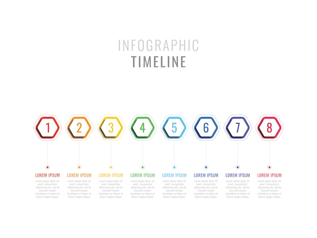 Eight steps infographic timeline with hexagonal elements on white background