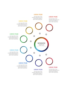 Eight steps vertical design layout infographic template with round realistic elements