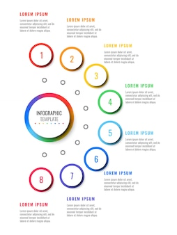 Eight steps vertical layout infographic template with round 3d realistic elements.