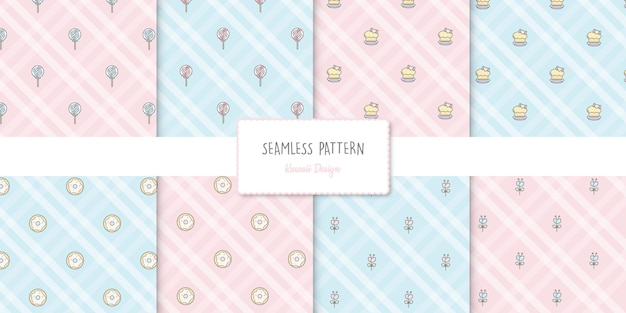 파스텔 색상으로 설정된 8 개의 과자 원활한 패턴