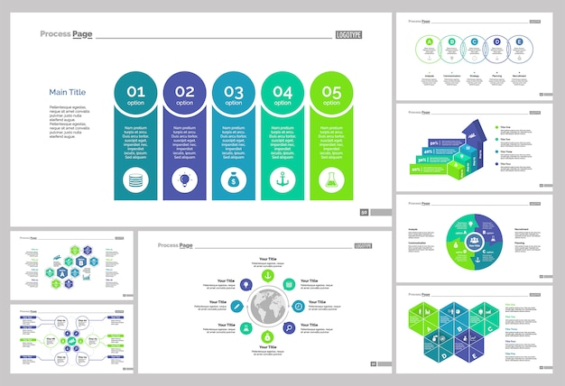 Eight teamwork slide templates set