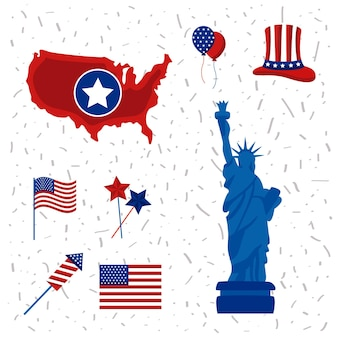 Eight usa independence day set icons