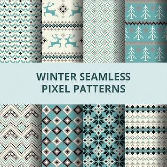 Eight winter patterns with decorative elements