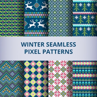 Eight winter patterns with pixels