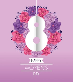 Eight with roses to womens day celebration