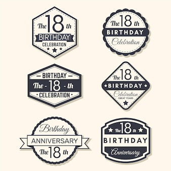 Eighteenth birthday badges collection