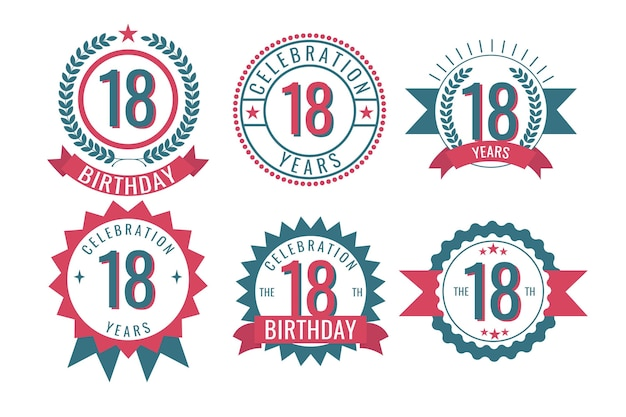 Набор значков восемнадцатого дня рождения