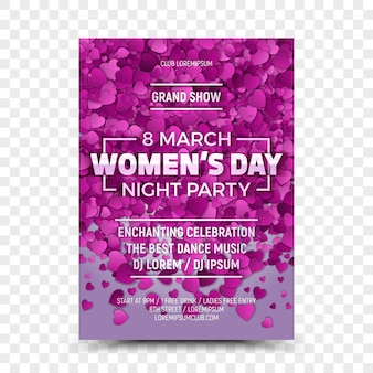 Eighth march women's day night party flyer