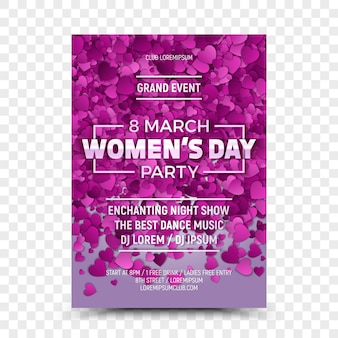 Eighth march women's day party flyer template