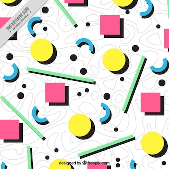 Ottanta sfondo di forme geometriche colorate