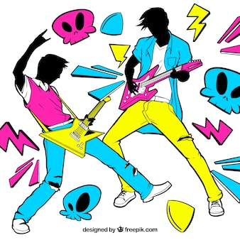Eighties background of guitarists