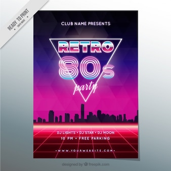 Eighties brochure in modern style with city silhouette