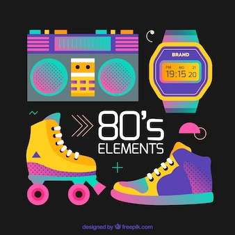 Eighties elements on a black background