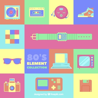 Eighties elements with bright colors