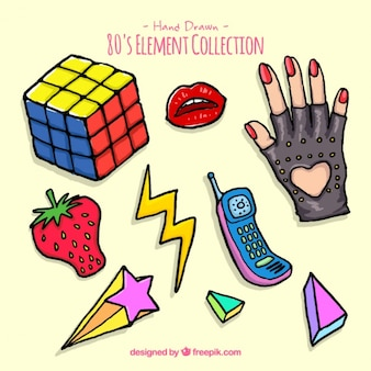 Eighties hand drawn accessories pack