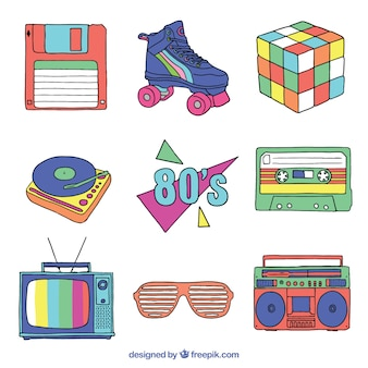 Eighties hand drawn item set