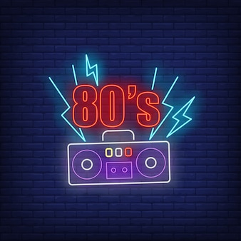 Eighties neon lettering with cassette player