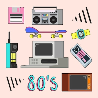 Eighties objects collection in flat design