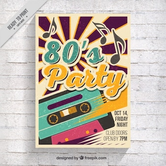 Eighties party brochure with music tape
