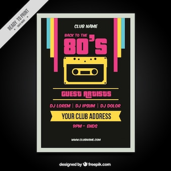 Eighties retro colorful brochure