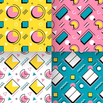 Eighties shapes memphis seamless pattern collection