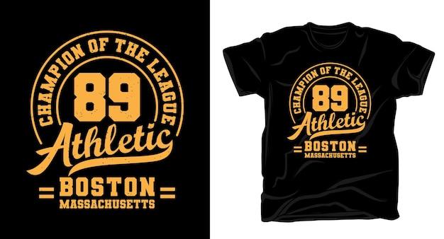 여든 아홉 운동 타이포그래피 티셔츠 디자인