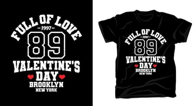 Дизайн футболки типографии на день святого валентина восемьдесят девять