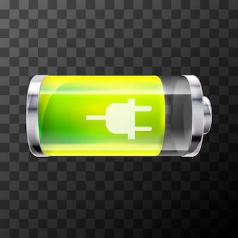 Eighty percent bright glossy battery icon with charging symbol on