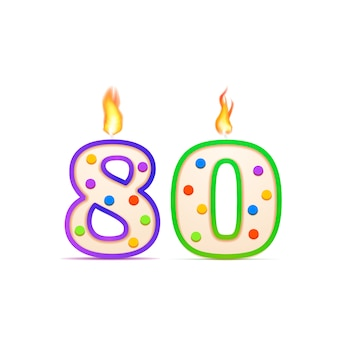 80年記念日、80の数の形の白の火で誕生日の蝋燭