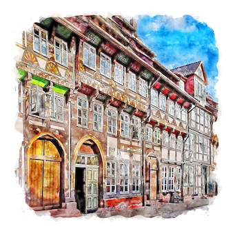 Einbeck 독일 수채화 스케치 손으로 그린 그림