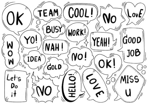 Набор рисованной фон милый текст речи пузырь eit в стиле каракули