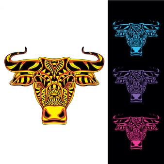 暗い色セットで抽象的な装飾的なパターンeithグローから牛の頭