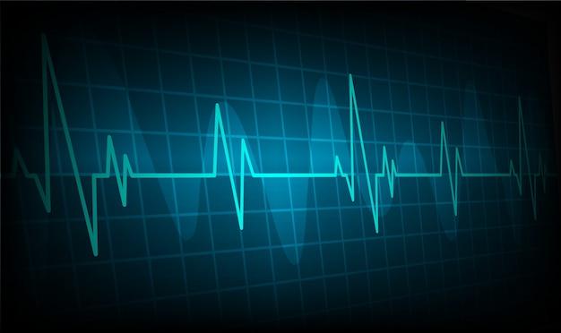 Сердце бьется фоне кардиограммы, ekg волна
