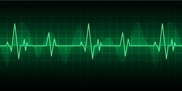 信号を伴う緑色の心臓パルスモニタ。ハートビートアイコン。 ekg