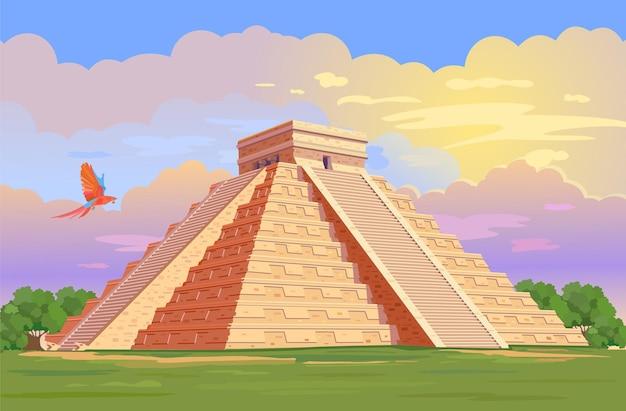 Эль-кастильо храм кукулькан пирамиды майя чичен-ица в юкатане, мексика
