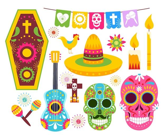 Эль-диа-де-муэртос, мексиканский день мертвых. арт мертвые черепа из мексики, скелетные маски для вечеринки