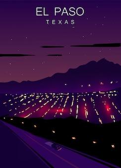 エルパソのモダンなポスター。エルパソ、テキサスの風景