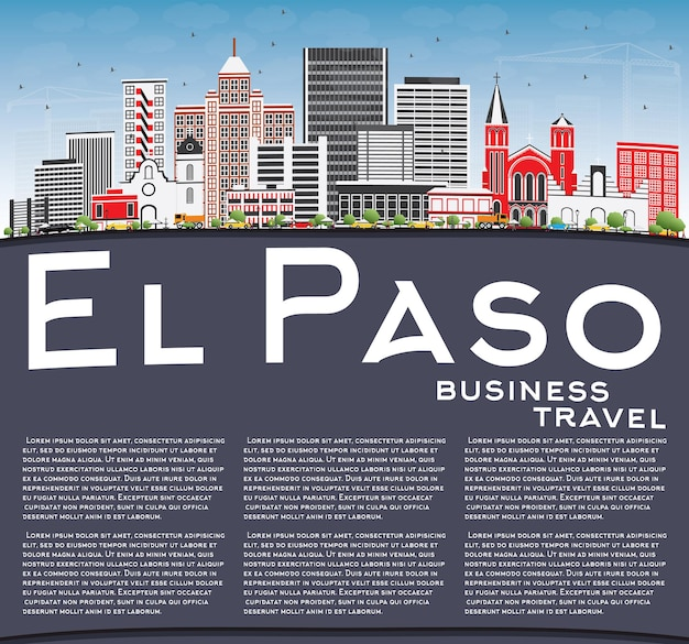 El paso skyline with gray buildings, blue sky and copy space. vector illustration. business travel and tourism concept with modern architecture. image for presentation banner placard and web site.