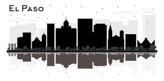 Bl;ack 건물 및 반사와 엘패소 텍사스 도시 스카이 라인 실루엣. 벡터 일러스트 레이 션. 현대 건축과 비즈니스 여행 및 관광 개념입니다. 랜드마크가 있는 엘패소 도시 풍경.