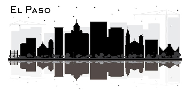 El paso texas city skyline silhouette with bl;ack buildings and reflections. vector illustration. business travel and tourism concept with modern architecture. el paso cityscape with landmarks.