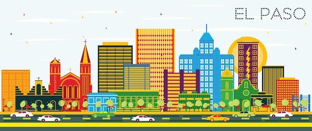 色の建物と青い空とエルパソテキサスシティのスカイライン。ベクトルイラスト。近代建築とビジネス旅行と観光の概念。ランドマークのあるエルパソの街並み。