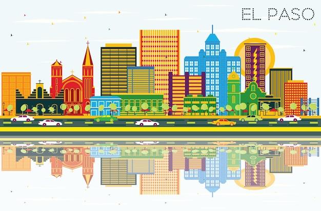 色の建物、青い空と反射のあるエルパソテキサスシティのスカイライン。ベクトルイラスト。近代建築とビジネス旅行と観光の概念。ランドマークのあるエルパソの街並み。