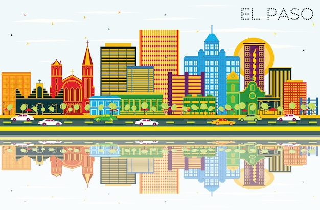 El paso texas city skyline with color buildings, blue sky and reflections. vector illustration. business travel and tourism concept with modern architecture. el paso cityscape with landmarks.