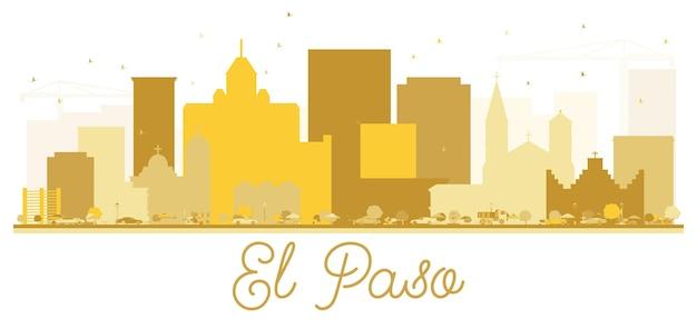 엘패소 텍사스 미국 도시의 스카이 라인 황금 실루엣입니다. 관광 프레젠테이션, 배너, 현수막 또는 웹 사이트를 위한 단순한 평면 개념입니다. 랜드마크가 있는 엘패소 도시 풍경. 벡터 일러스트 레이 션.
