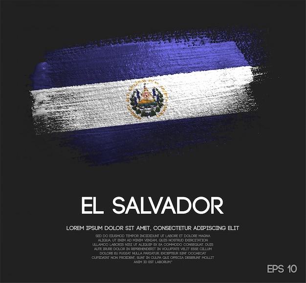 El salvador flag made of glitter sparkle brush paint