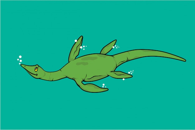 Elasmosaurus swimming dinosaur